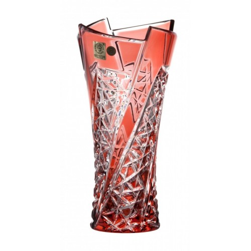 Crystal Vase Fan, color ruby, height 205 mm