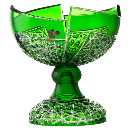 Crystal footed bowl Fan, color green, diameter 240 mm