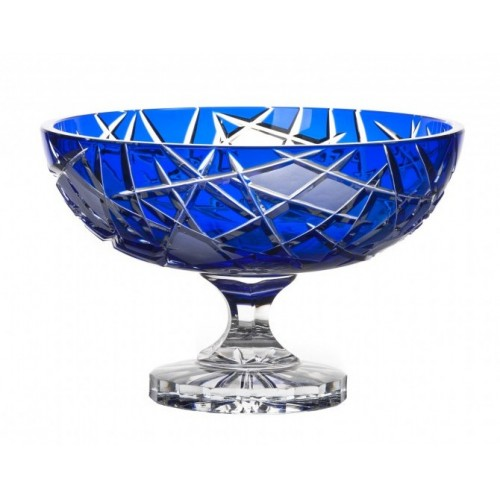 Crystal Footed Bowl Mars, color blue, diameter 280 mm