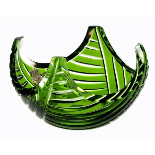 Crystal Bowl Linum, color green, diameter 140 mm