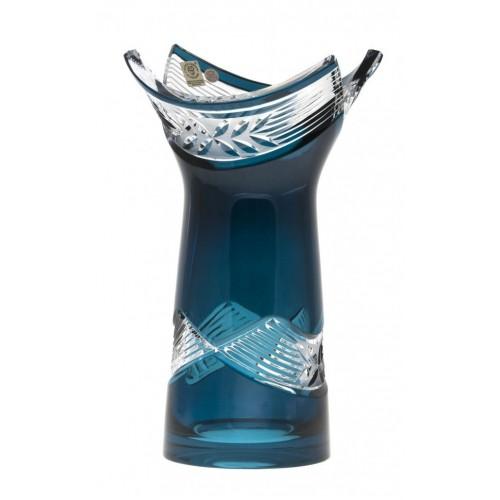 Crystal Vase Laurel, color azure, height 255 mm