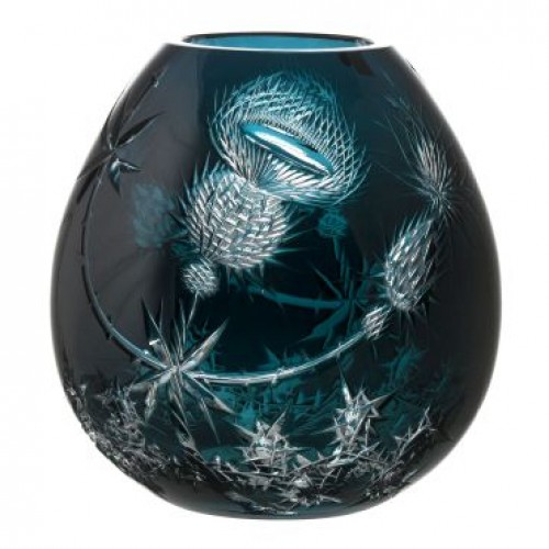 Crystal Vase Thistle, color azure, height 280 mm