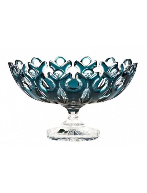 Crystal Footed Bowl Flamenco, color azure, diameter 330 mm