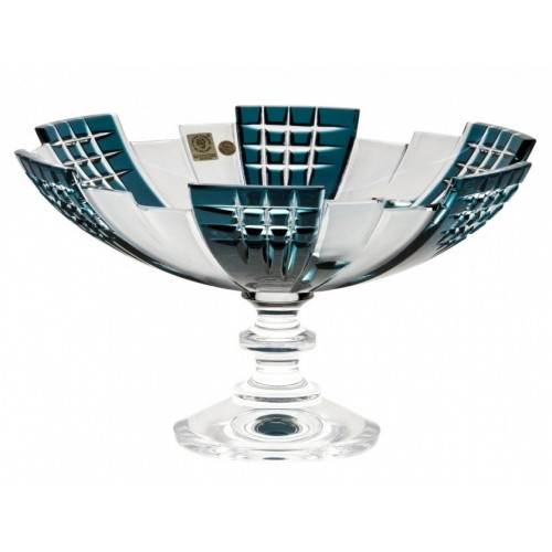 Crystal Footed Bowl Metropolis, color azure, diameter 280 mm