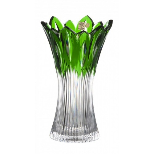 Crystal Vase Flame, color green, height 255 mm