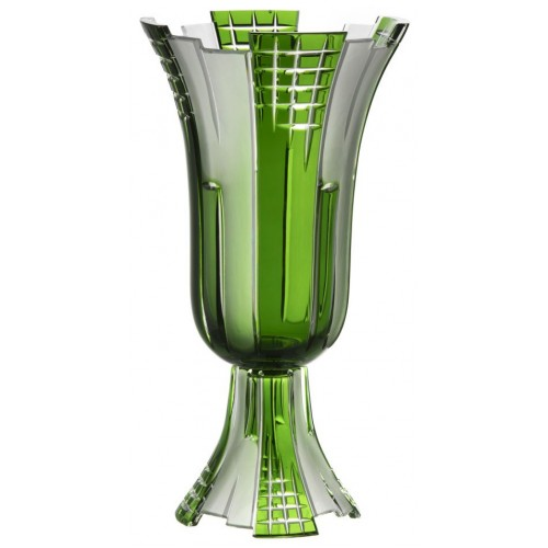 Crystal Vase Metropolis, color green, height 390 mm