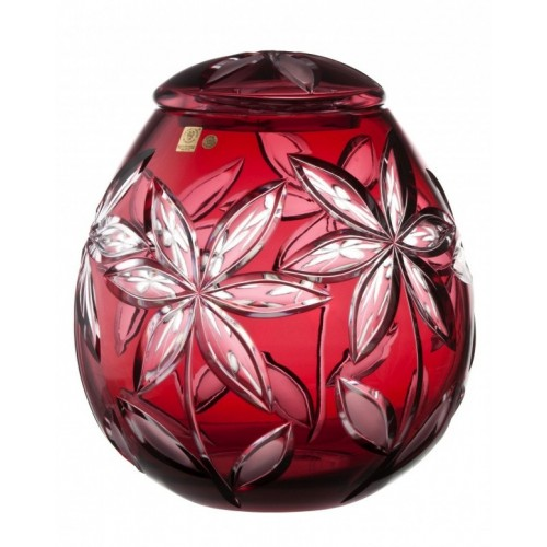 Crystal Urn Linda, color ruby, height 290 mm