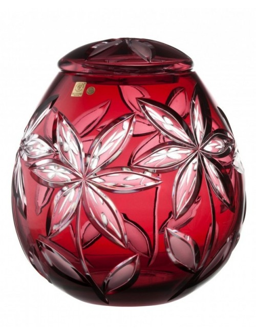 Crystal Urn Linda, color ruby, height 290 mm