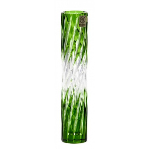 Crystal Vase Zita, color green, height 205 mm