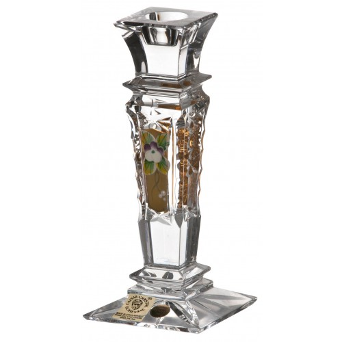 Crystal Candlestick 500K gold, color clear crystal, height 150 mm