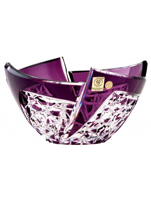 Crystal bowl Fan, color violet, diameter 180 mm