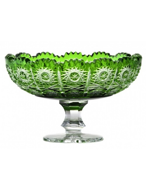Crystal Footed Bowl Paula, color green, diameter 120 mm