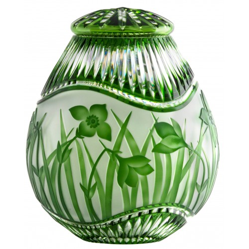 Crystal urn Flowers, color green, height 230 mm
