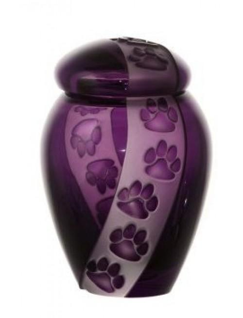 Crystal Urn Paws, color violet, height 120 mm
