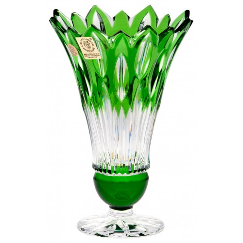 Crystal Vase Flame, color green, height 150 mm