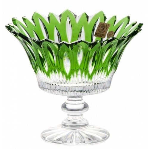 Crystal Footed Bowl Flame, color green, diameter 150 mm
