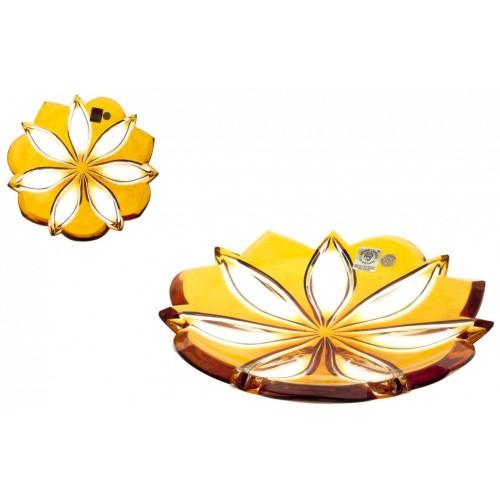 Crystal Plate Linda, color amber, diameter 180 mm