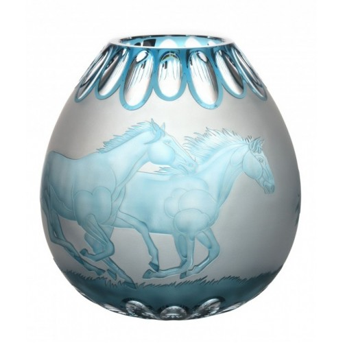 Crystal Vase Horses, color azure, height 280 mm