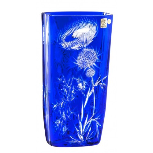 Crystal Vase Thistle, color blue, height 255 mm