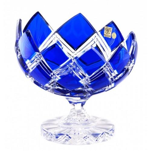 Crystal Footed Bowl Harlequin, color blue, diameter 200 mm
