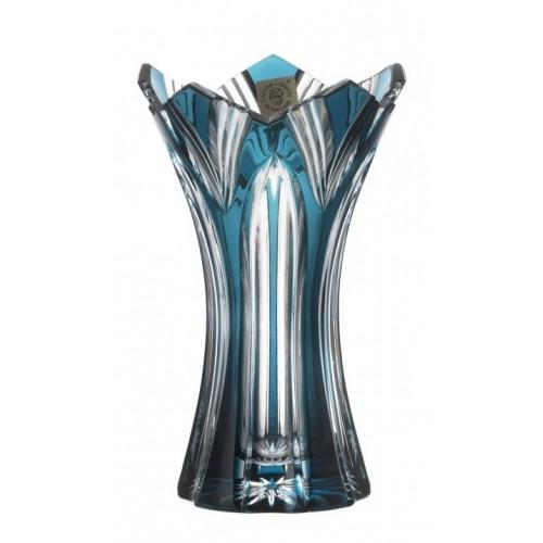 Crystal Vase Lotus II, color azure, height 155 mm