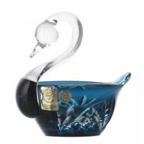 Crystal Swan Miniature, color azure, diameter 100 mm