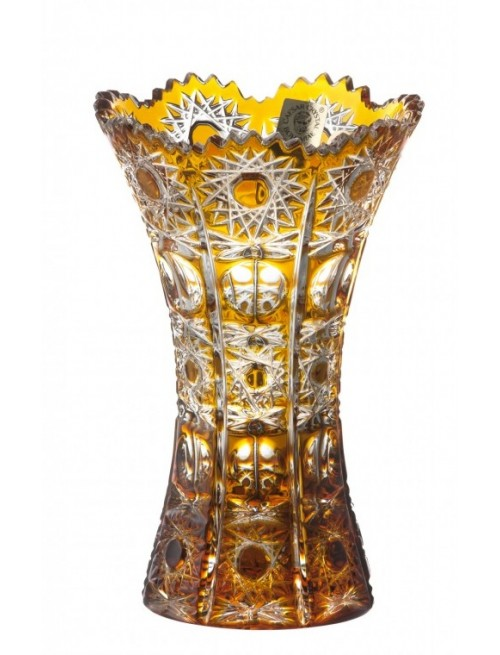 Crystal Vase Petra, color amber, height 155 mm