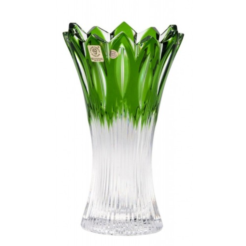 Crystal Vase Flame II, color green, height 205 mm