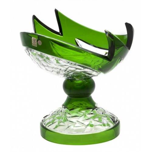 Crystal Footed Bowl Neptune, color green, diameter 240 mm