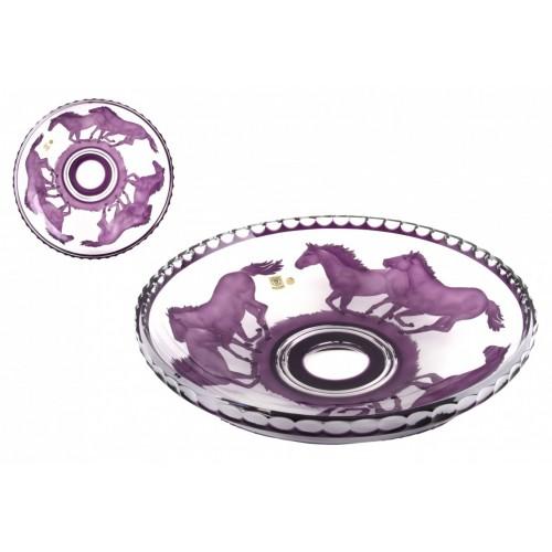 Crystal bowl Horses, color violet, diameter 350 mm