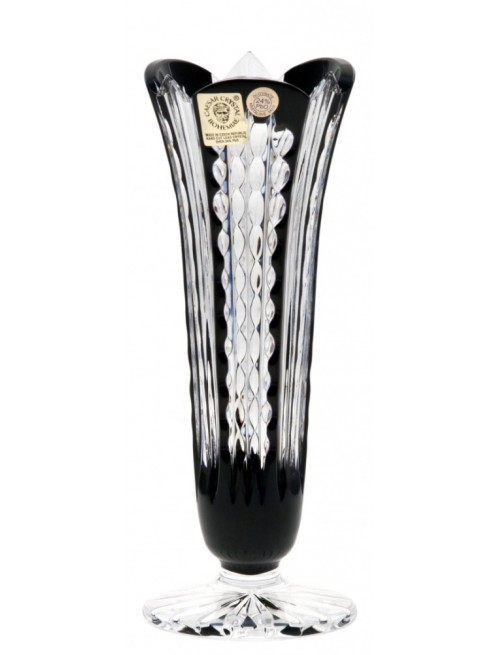 Crystal Vase Akiko, color black, height 175 mm