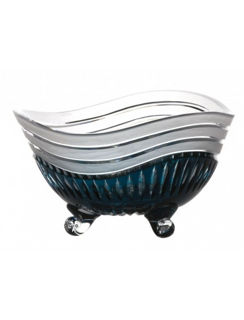 Crystal Bowl Dune, color azure, diameter 235 mm