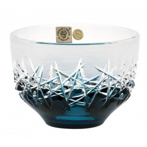 Crystal Bowl Hoarfrost, color azure, diameter 110 mm