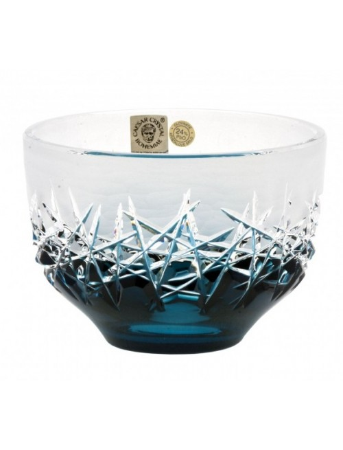 Crystal Bowl Hoarfrost, color azure, diameter 110 mm