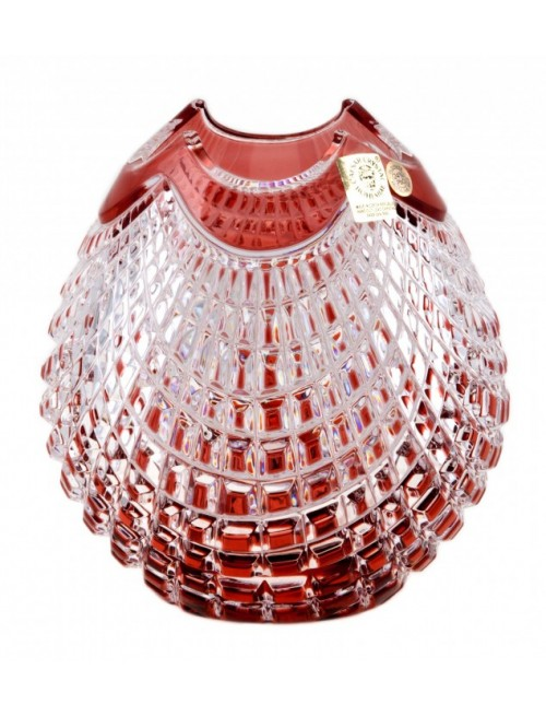 Crystal Vase Quadrus, color ruby, height 135 mm