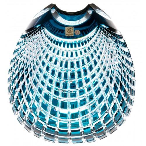 Crystal Vase Quadrus, color azure, height 250 mm