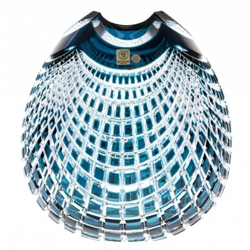 Crystal Vase Quadrus, color azure, height 135 mm