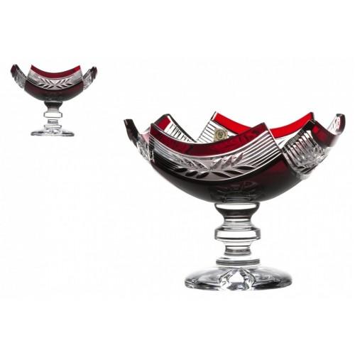 Crystal Footed Bowl Laurel, color ruby, diameter 230 mm