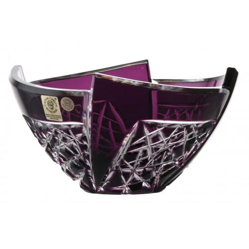 Crystal bowl Fan, color violet, diameter 155 mm