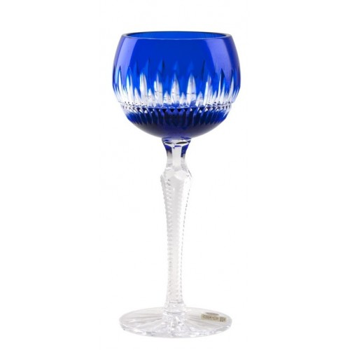 Crystal Wine Glass Thorn, color blue, volume 190 ml