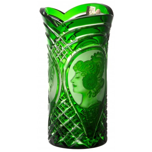 Crystal Vase Mucha, color green, height 210 mm