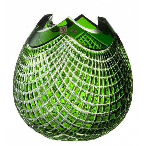 Crystal Vase Quadrus, color green, height 250 mm