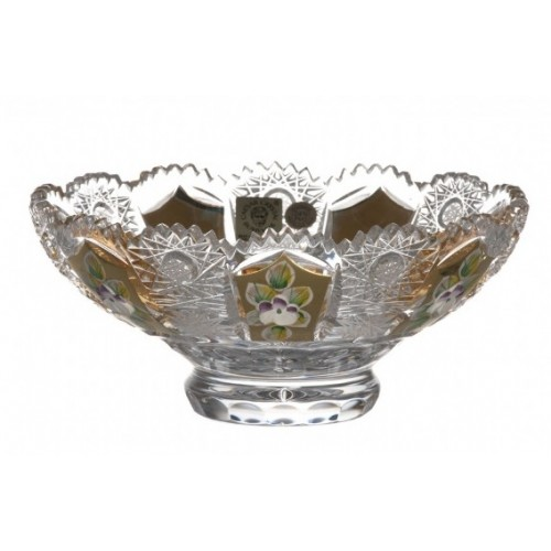 Crystal Bowl gold, color clear crystal, diameter 155 mm