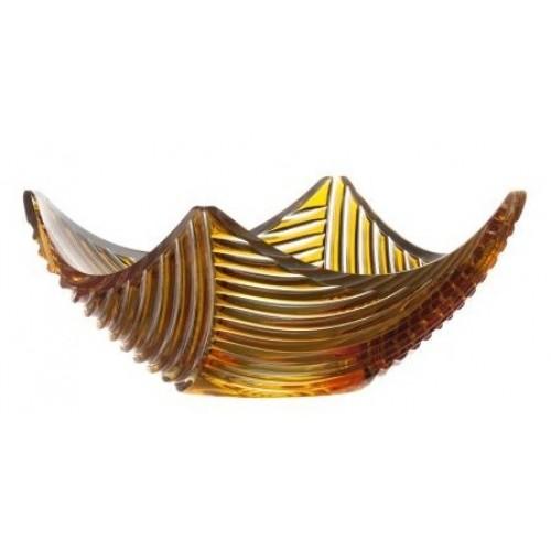 Crystal Bowl Linum, color amber, diameter 280 mm