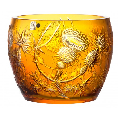 Crystal bowl Thistle, color amber, diameter 240 mm