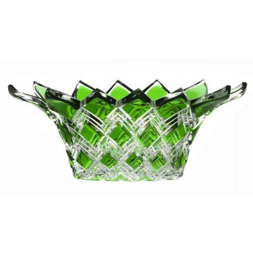 Crystal bowl Harlequin, color green, diameter 300 mm