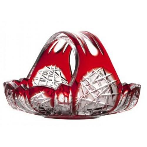 Crystal basket Frigus, color ruby, diameter 230 mm