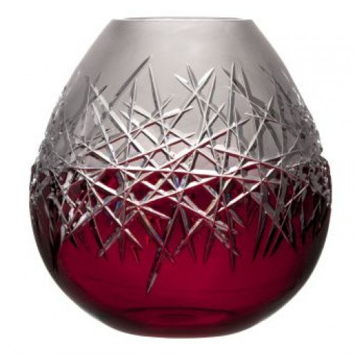 Crystal Vase Hoarfrost, color ruby, height 280 mm