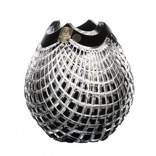 Crystal Vase Quadrus, color black, height 135 mm