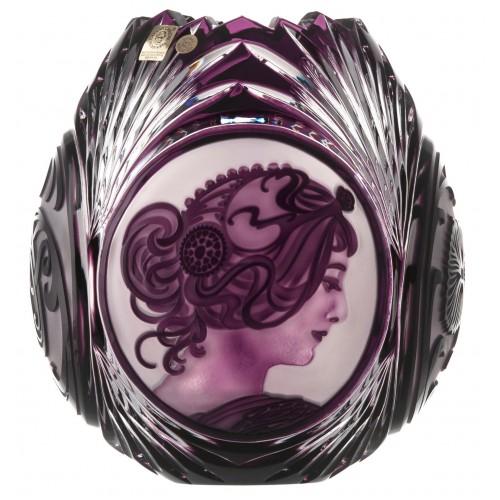 Crystal Vase Mucha, color violet, height 210 mm